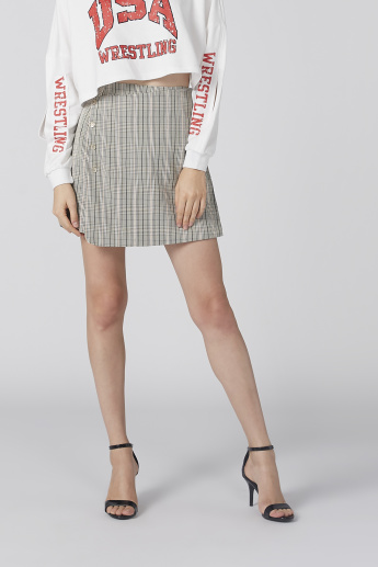 Chequered Mini Skirt with Button Detail