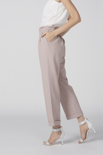 Paper Bag Pants with Button Closure and Pocket Detail
