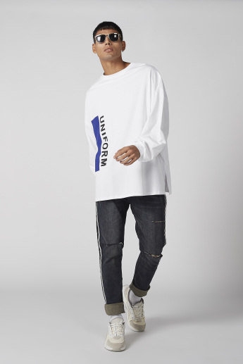 Printed Longline T-Shirt with Round Neck and Long Sleeves