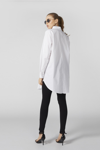 Collared Longline Shirt with Long Sleeves and Complete Placket