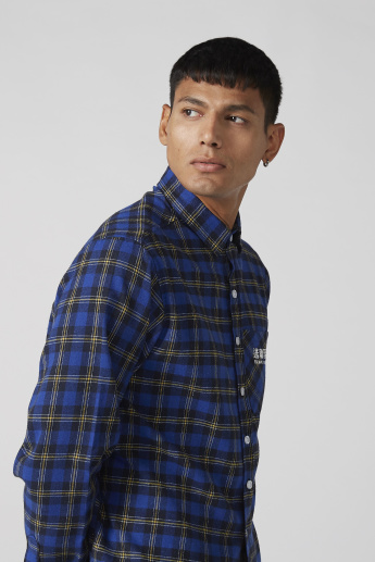 Chinese Text Printed Shirt with Chequered Pattern and Patch Pocket