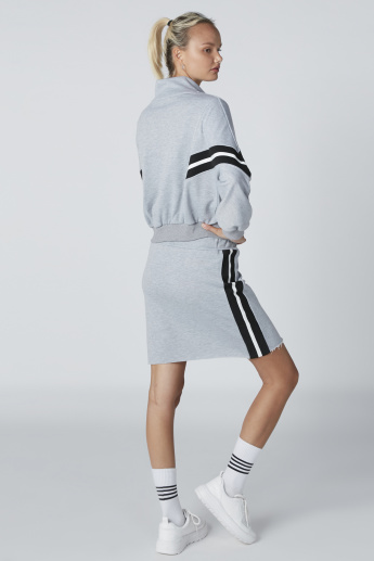 Mini Shift Skirt with Striped Side Tape and Elasticised Waistband
