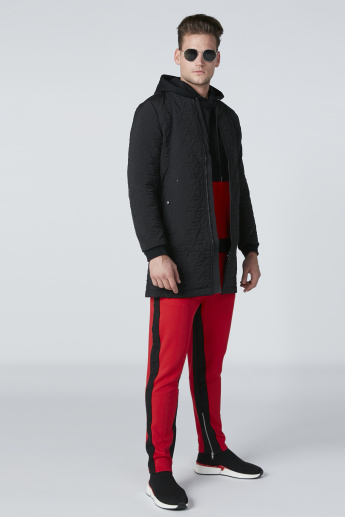 Contrast Side Panel Pants with Zip and Pocket Detail