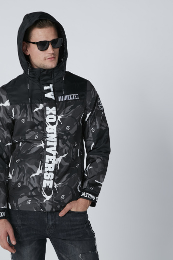 Printed Jacket with Long Sleeves and Hood