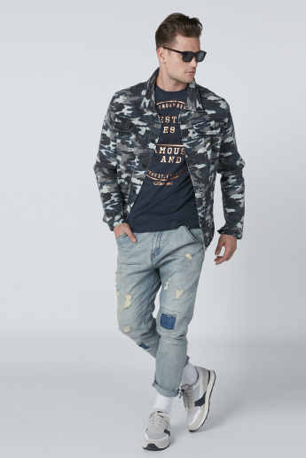 Camouflage Printed Denim Jacket with Long Sleeves and Pocket Detail