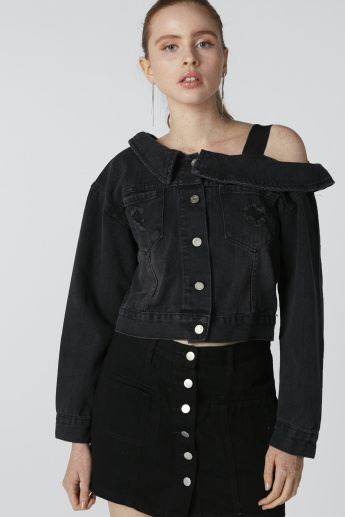 One Shoulder Denim Jacket with Long Sleeves and Button Closure