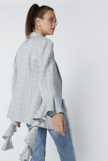 Chequered Blazer with Ruffle Detail Sleeves
