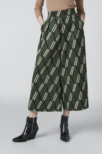 Printed Flexi Waist Culottes in Wide Fit with Pocket Detail