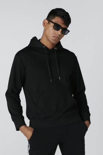 Embroidered Long Sleeves Sweatshirt with Hood and Pocket Detail