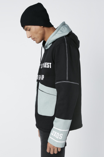 Printed Cut and Sew Sweatshirt with Hood and Pocket Detail
