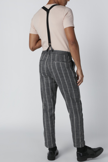 Striped Trousers with Pocket Detail and Suspenders