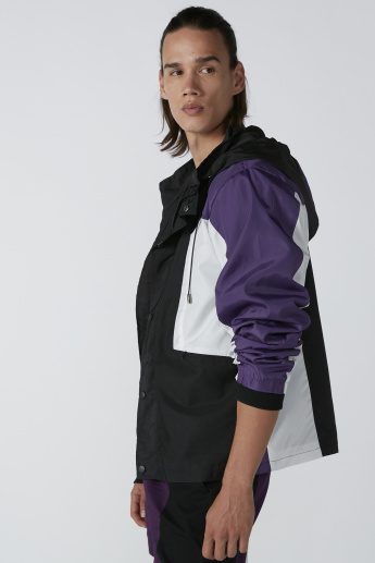 Zip Detail Bomber Jacket with Long Sleeves and Hood