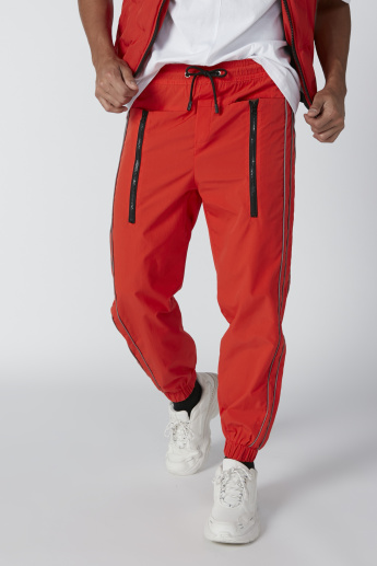 Flexi Waist Jog Pants with Drawstring and Zip Detail