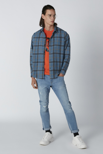 Chequered Jacket with Long Sleeves and Complete Placket
