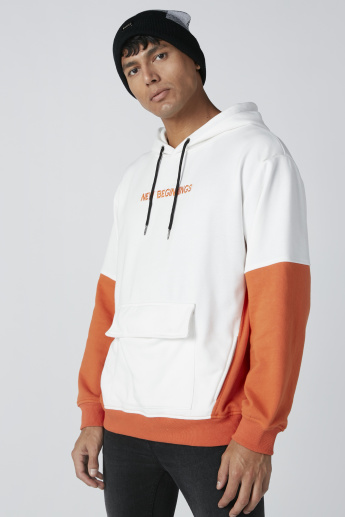 Embroidered Hooded Sweatshirt with Long Sleeves and Pocket Detail