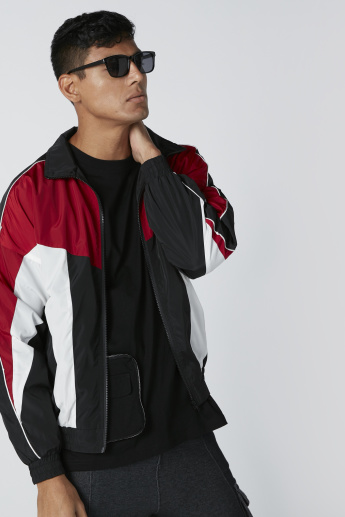 Piping Detail Bomber Jacket with Zip Closure