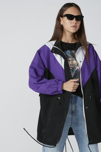 Colour Block Longline Jacket with Long Sleeves