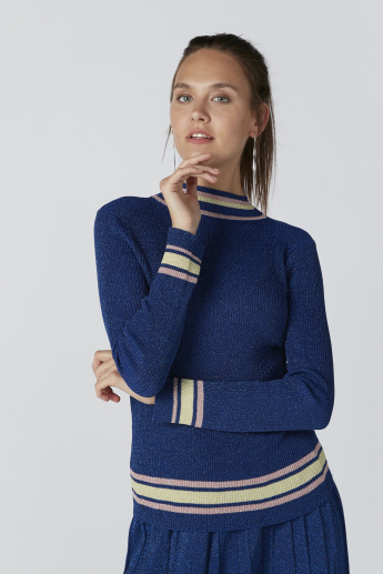 Textured High Neck Sweater with Long Sleeves in Skinny Fit