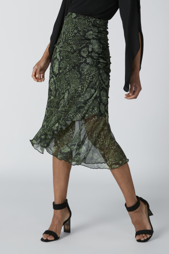 Printed A-Line Midi Skirt with Elasticised Waistband