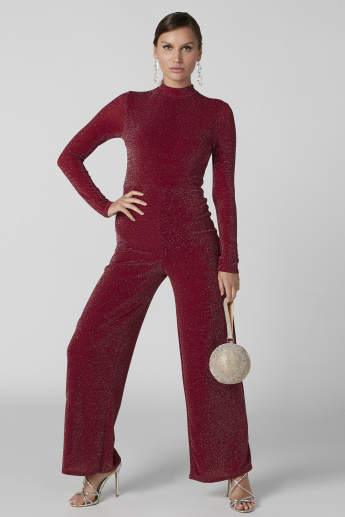 Textured Jumpsuit with High Neck and Long Sleeves