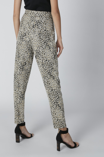 Animal Printed Trousers with Tie Ups