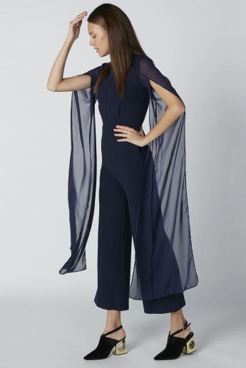 Pocket Detail Jumpsuit with Flared Sleeves and Crew Neck