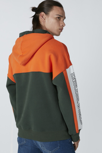 Printed Colour Block Sweatshirt with Hood and Long Sleeves