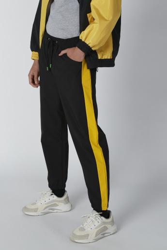 Striped Side Tape Jog Pants with Pocket Detail and Drawstring