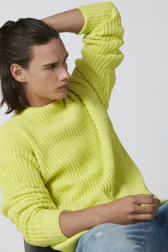 Knitted Sweater with Crew Neck and Long Sleeves
