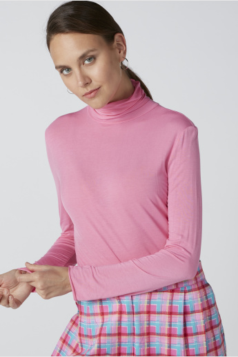 Long Sleeves T-Shirt with High Neck