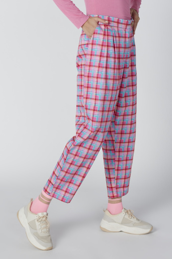 Chequered Trousers with Pocket Detail and Button Closure