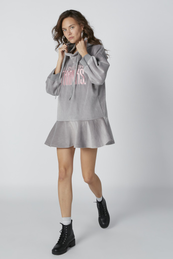 Textured Mini Shift Dress with Embroidery and Hood