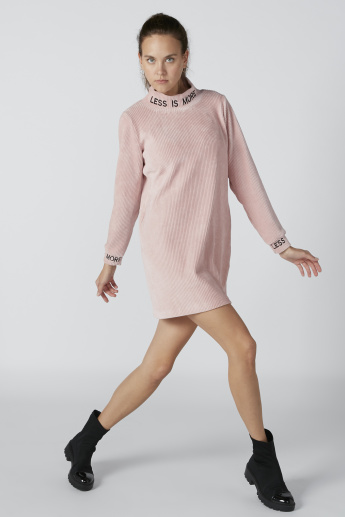 Textured Shift Dress with High Neck