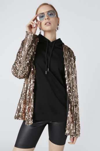 Sequin Detail Jacket with Long Sleeves and Hood