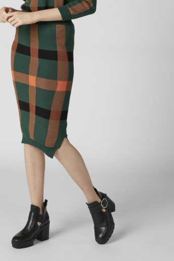 Chequered Bodycon Skirt with Slits