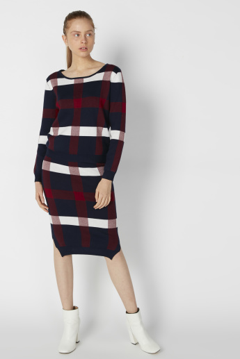 Chequered Bodycon Skirt