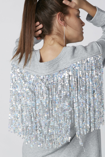 Long Sleeves Sweatshirt with Sequin Detail