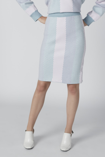 Striped Midi Pencil Skirt with Elasticised Waistband and Slit Detail