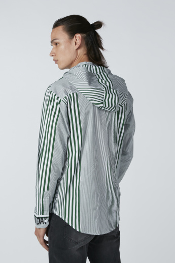 Striped and Printed Shirt with Hood and Concealed Placket