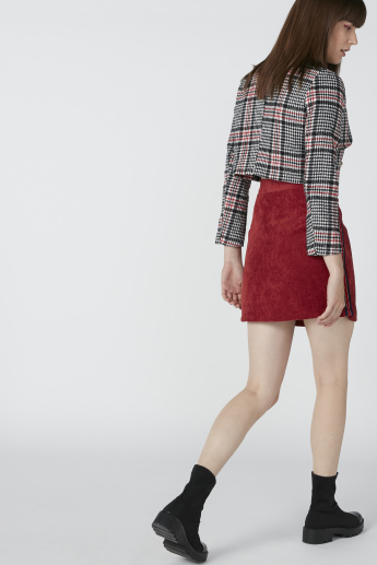A-Line Textured Mini Skirt with Tape Detail and Zip Closure