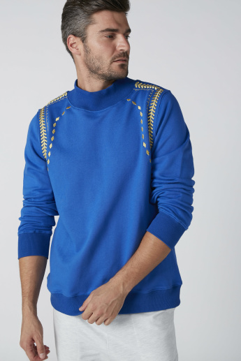 Embroidered Sweater with High Neck and Long Sleeves