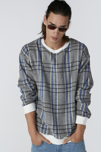 Chequered Sweatshirt with Long Sleeves