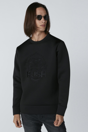 Embroidered Sweatshirt with Long Sleeves and Zip Detail
