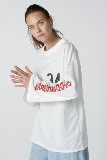 Printed Oversized Top with Long Sleeves