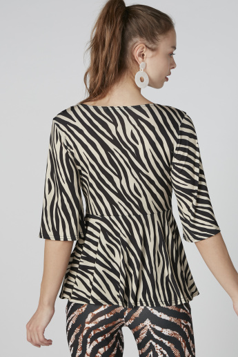Animal Printed Top with V-Neck