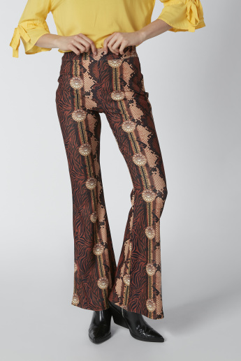 Bootcut Printed Pants with Elasticized Waistband