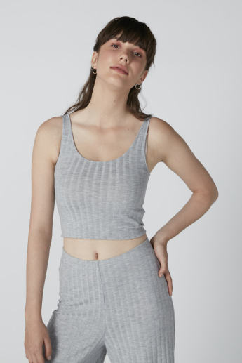 Textured Sleeveless Crop Top in Regular Fit with Scoop Neck