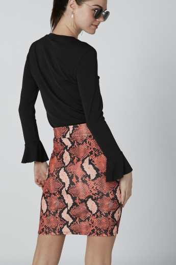 Mini Pencil Skirt with Elasticised Waistband and Animal Prints