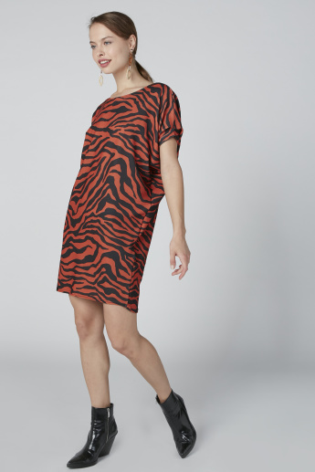 Printed Midi Dress with Short Sleeves
