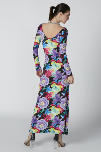 Floral Printed Maxi Dress with Long Sleeves and Slit Detail